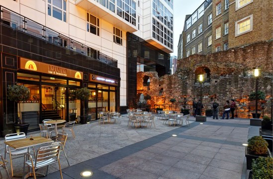 Ground view of the Piazza with open space outside Grange City Hotel Venue Hire EC3