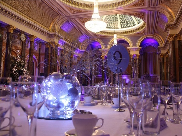 Gibson Hall Christmas Party EC2, festive decorations, winter wonderland theme, large round tables set for dinner