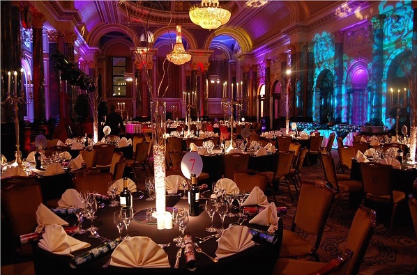 Gibson Hall Christmas Party EC2, mood lighting, candelabras on the tables for centre pieces
