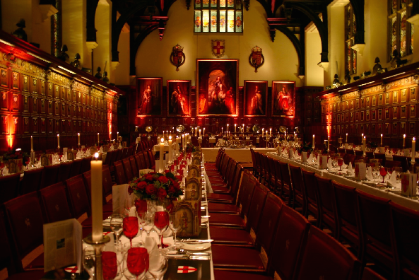 Middle Temple Christmas Party EC4, stunning Christmas set up, seated dinner, high ceilings