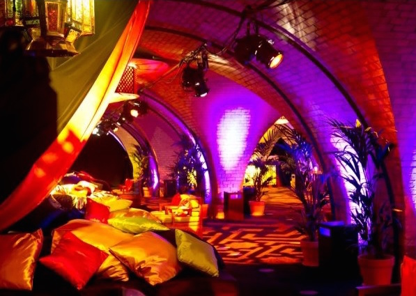 Old Billingsgate Vaults Christmas Party EC3, open archways, lighting