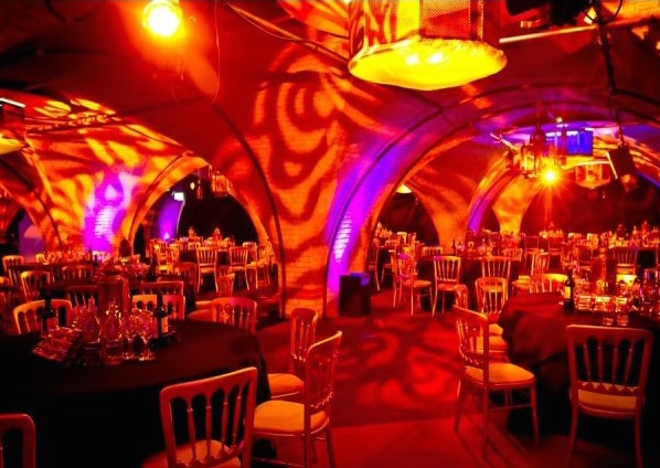 Old Billingsgate Vaults Christmas Party EC3, archways, seated dinner, ambience lighting