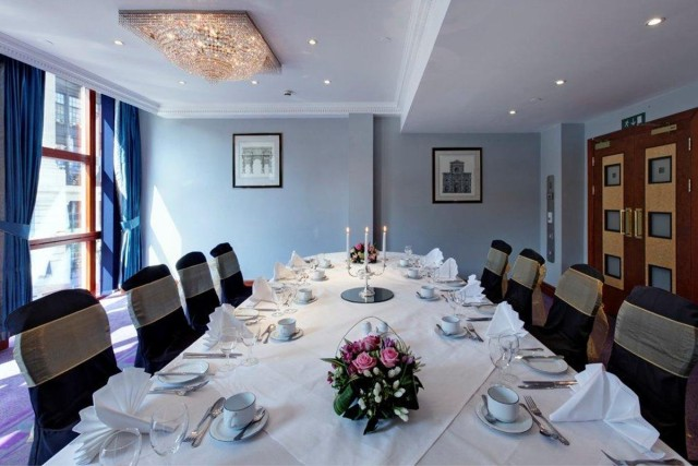 Tucana Suite set up boardroom style for a private dinner event Grange Holborn Hotel Venue Hire WC1