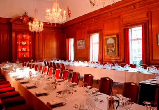 Brewers Hall London Venue Hire EC2, long tables set up for private dining