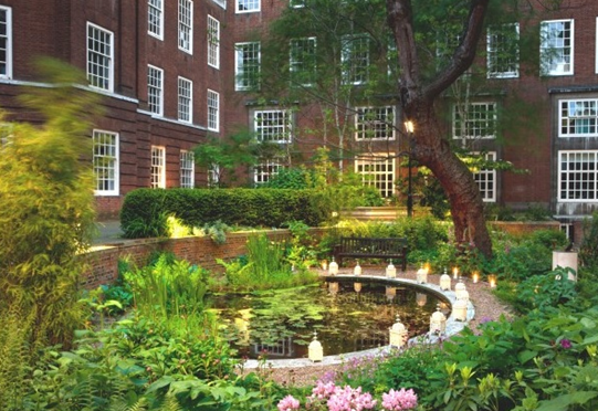 BMA House Summer Party WC1 outside space of pond