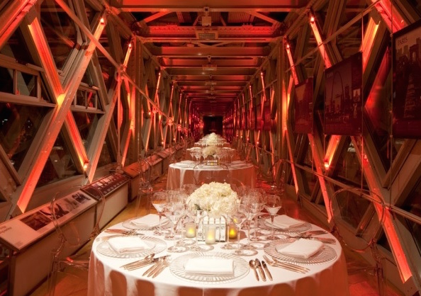 Tower Bridge Walkways Christmas Party Venue, stunning walkways, colour wash