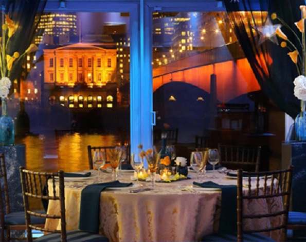 Glaziers Hall Christmas Party SE1, views of the river from their river room, dinner set up