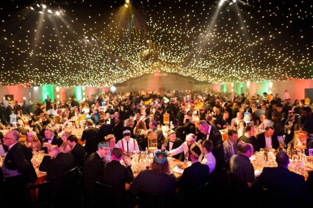 900 guests for a sit down 3 course meal ceiling decorate with a thousand fairy lights at the HAC Artillery Garden Christmas Party EC2
