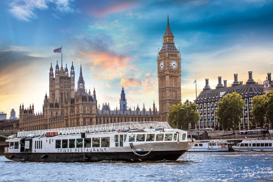 Bateaux Summer Party River Cruises WC2 views of London river with iconic building in view