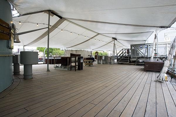 HMS Belfast Summer Party Venue SE1. Deck of HMS Belfast, with a cover for wet weather option