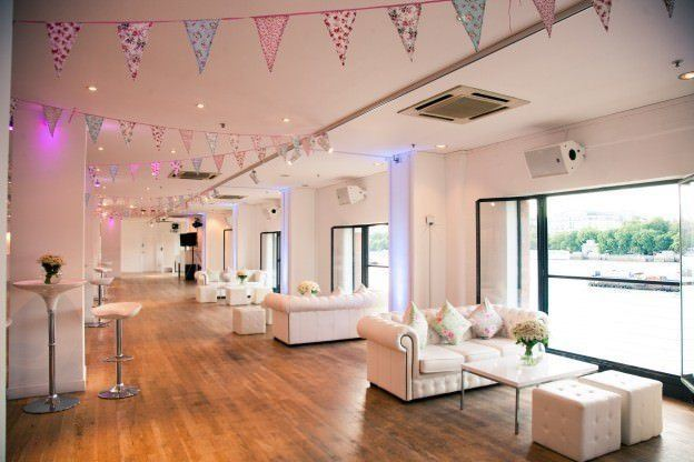 OXO2 Summer Party Venue London SE1, summer decorations, large open windows looking out onto the river