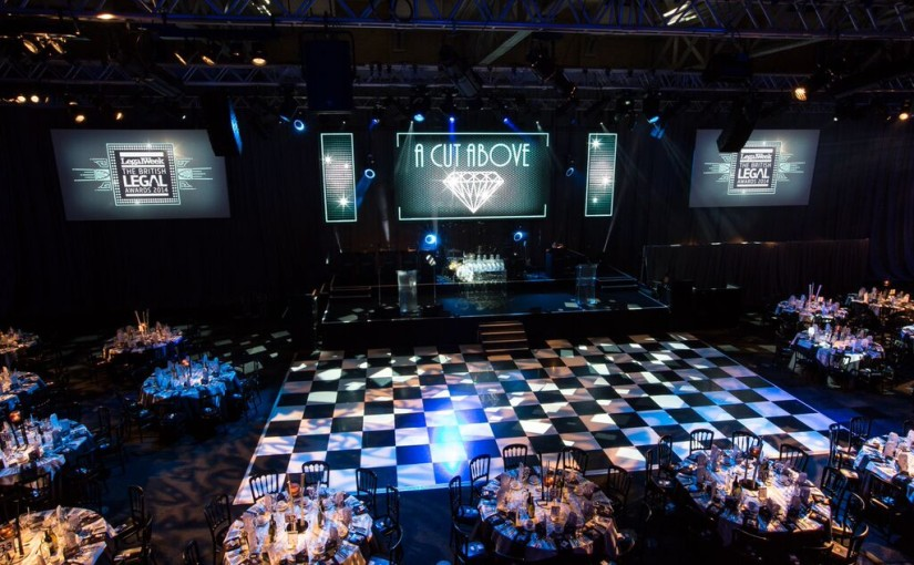 Old Billingsgate Christmas Party EC1, seated dinner set up,large dance floor in the centre of the room, large screens
