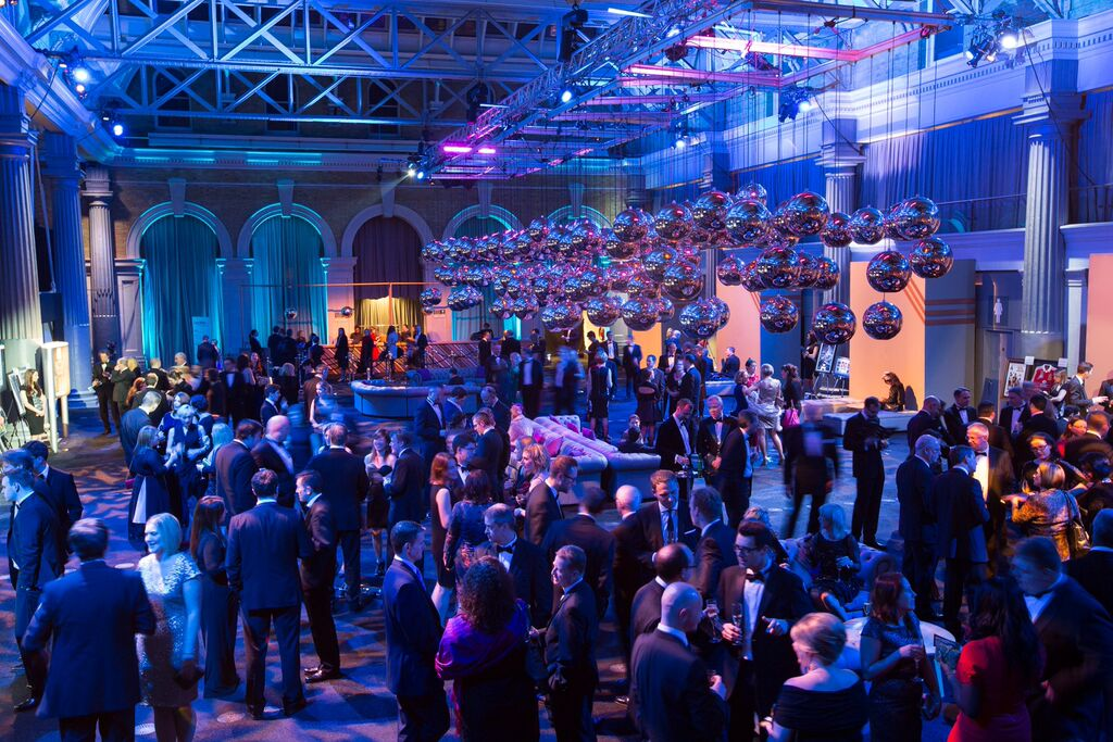 Old Billingsgate Christmas Party EC1, large reception area perfect for a drinks reception, lighting, themeing