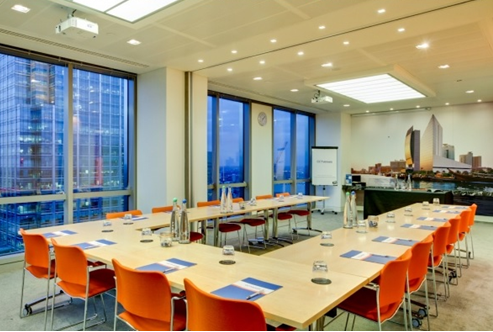 Plus-Bank Street London Venue Hire E14, meeting room set up u-shape for a meeting