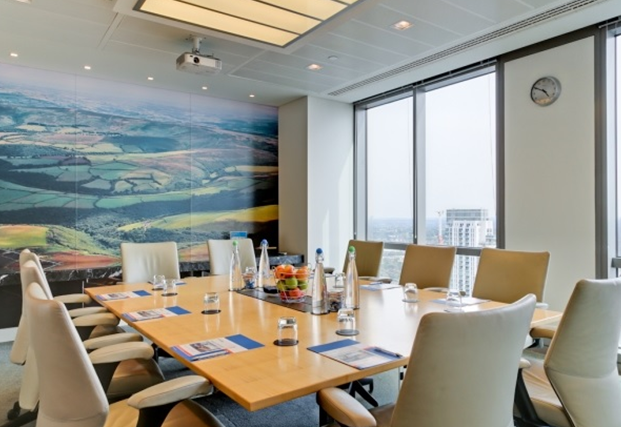 Plus-Bank Street London Venue Hire E14, meeting room set up board room style with views
