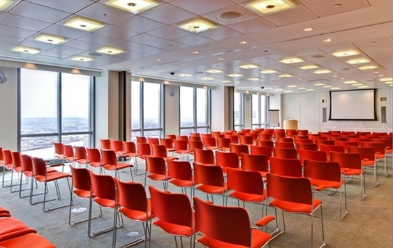 Plus-Bank Street London Venue Hire E14, large meeting room set up conference style