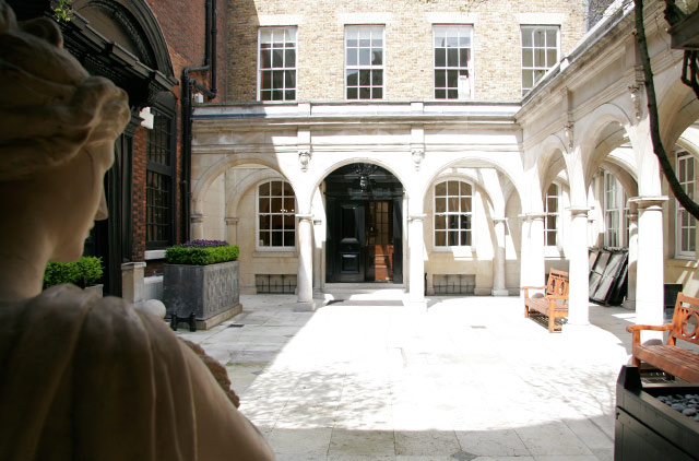 Skinners Hall Summer Party London, EC4, outside courtyard with white tiles