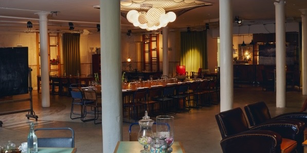Tanner Warehouse Christmas Party SE1 venues space for events with table and chairs