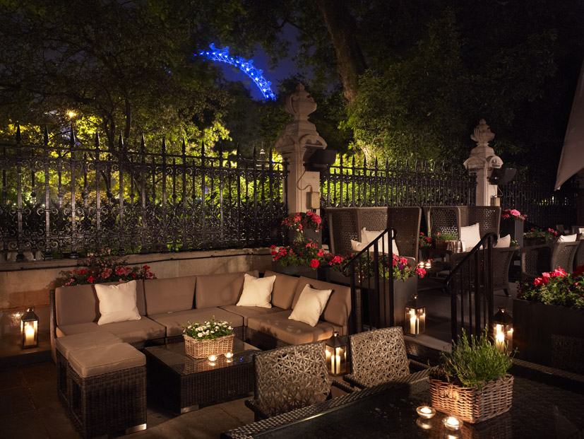 Royal Horseguards Hotel Summer Party SW1, outside terrace with cushions