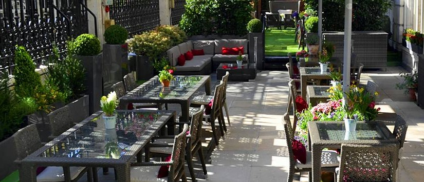 Royal Horseguards Hotel Summer Party SW1, beautiul terrace with garden furniture