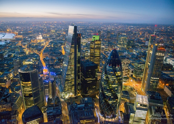 Leadenhall Building Christmas Party EC3, Ariel view of the building and london