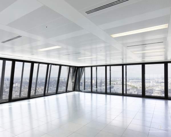 Leadenhall Building Christmas Party EC3, empty room with floor length windows