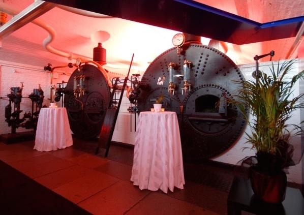 Tower Bridge Engine Rooms Christmas venue SE1, standing reception, poseur tables