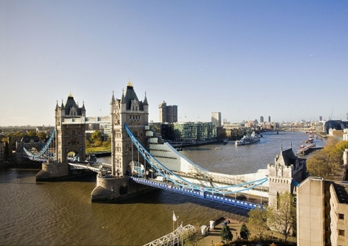 View of londons iconic Tower Bridge from the Tower Hotel Summer Party Venue E1