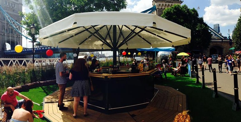 view of the lawn pop up bar with parasol and drinks Tower Hotel Summer Party Venue E1