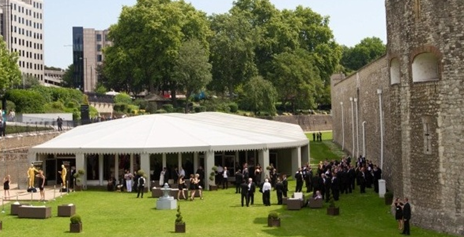 Pavilion at the Tower of London Summer Party EC3, stunning outside space, large lawn area