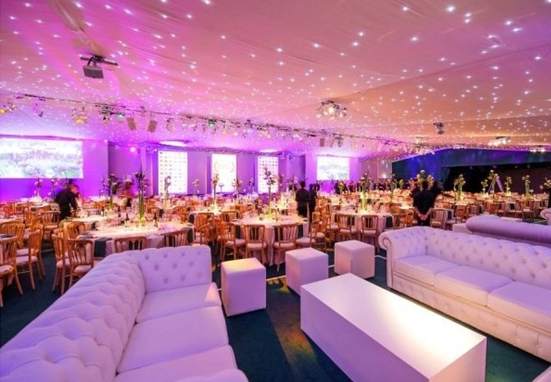 Pavilion at the Tower of London Summer Party EC3, seating area inside, stunning lighting