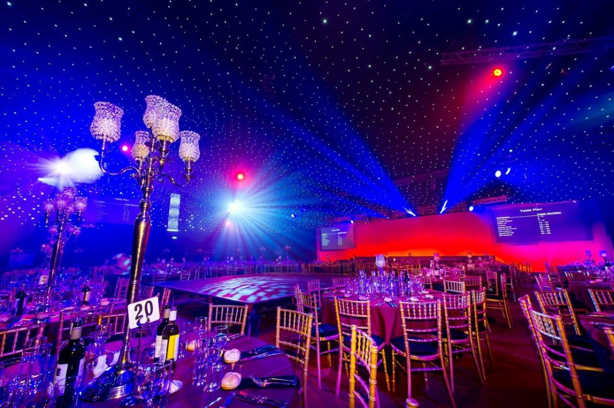 Vegas Shared Christmas Parties SE1- Tables set out for banqueting style dinner