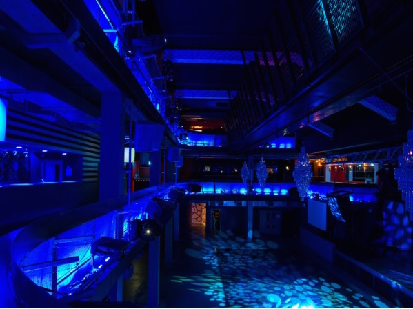Building Six Christmas Party SE10, blue lighting, large flexible event space