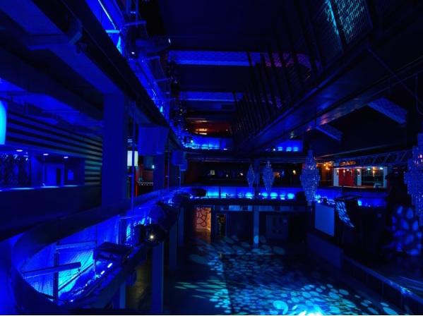 Building Six Christmas Party SE10, blue lighting, large flexible event space