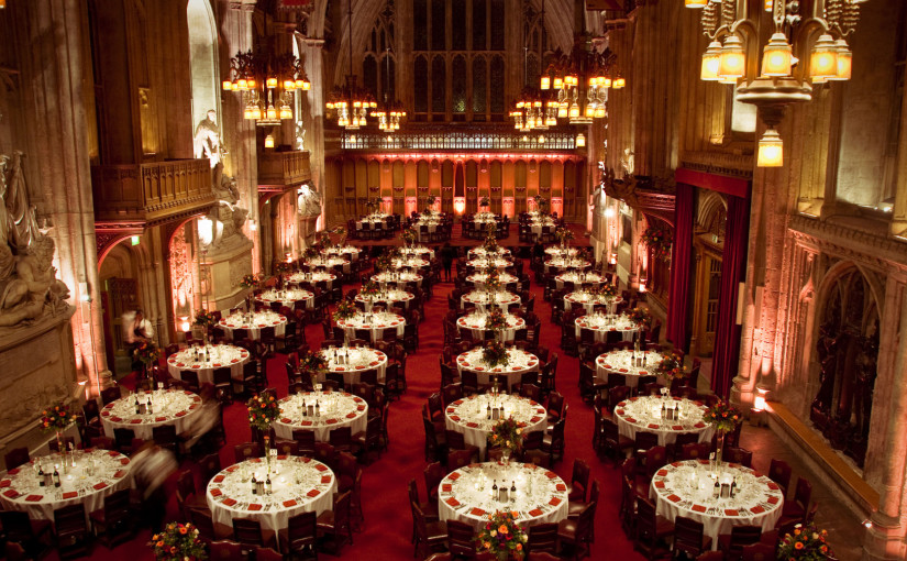 Guildhall Venue Hire EC2, seated dinner, large event space