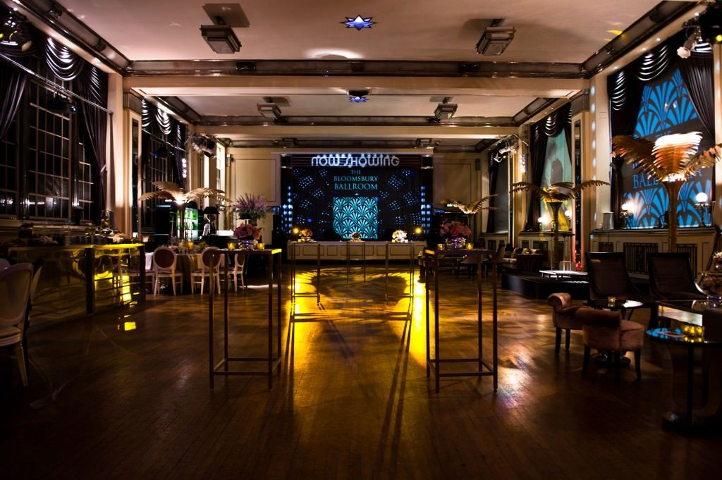 Bloomsbury Ballroom Venue Hire London WC1, uplighters and poser tables perfect for your reception drinks