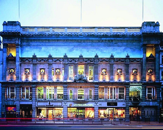 195 Piccadilly Venue Hire W1, outside of venue with blue lighting