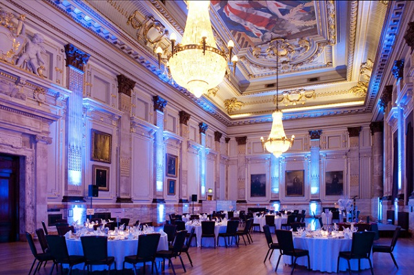 One Great George Street Christmas Party SW1. Great Hall with amazing interior and banqueting tables set out for an Christmas celebration