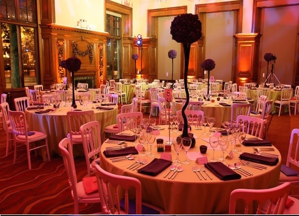Edwardian Rooms Christmas Party SW1 tables set out banqueting style.