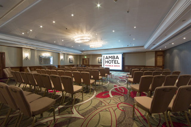 Theatre style layout with presentation in the Hyde Park 2 Suite Amba Marble Arch Venue Hire W1