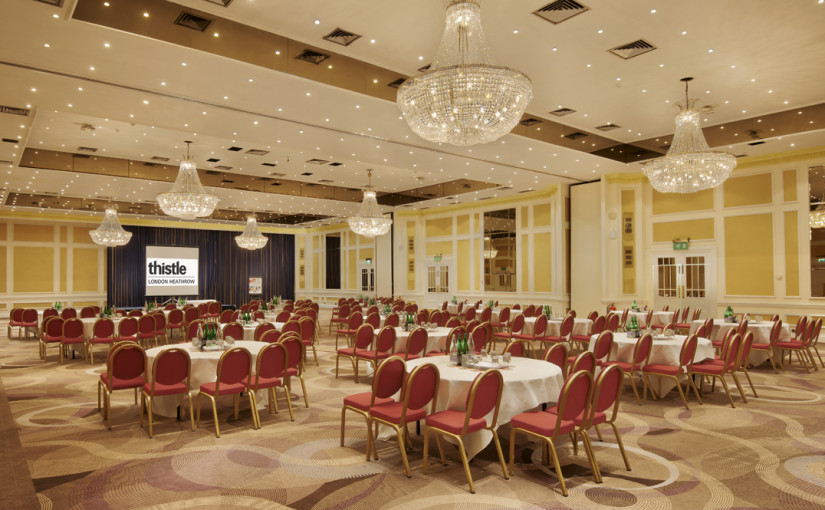 Thistle Heathrow Venue Hire UB7 tables set out banqueting style