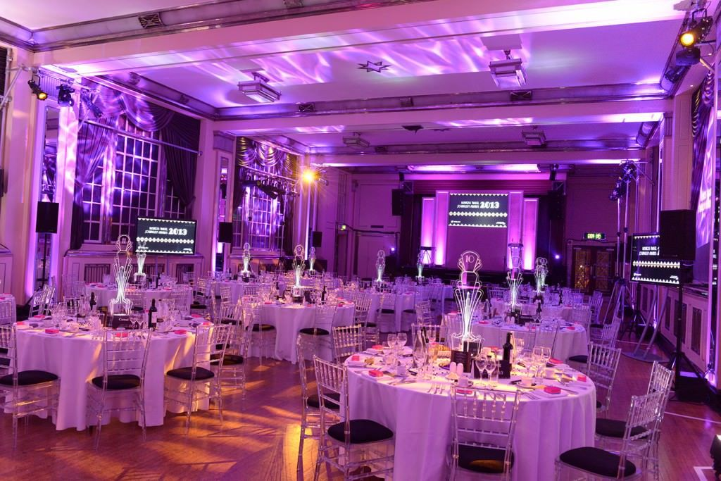 Bloomsbury Ballroom Venue Hire London WC1, set for a seated meal, round tables, white table cloths