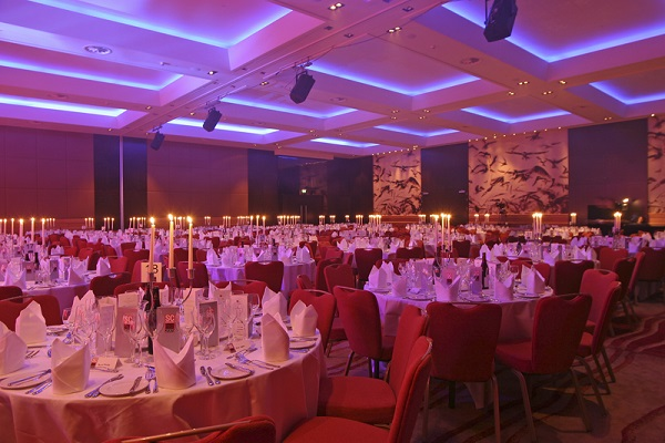 Park Plaza Riverbank Christmas Party SE1. Park Plaza Ballroom decorated for Christmas and banqueting tables set up