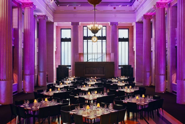 Banking Hall Christmas Party EC3. Dining room, beautifully lit.