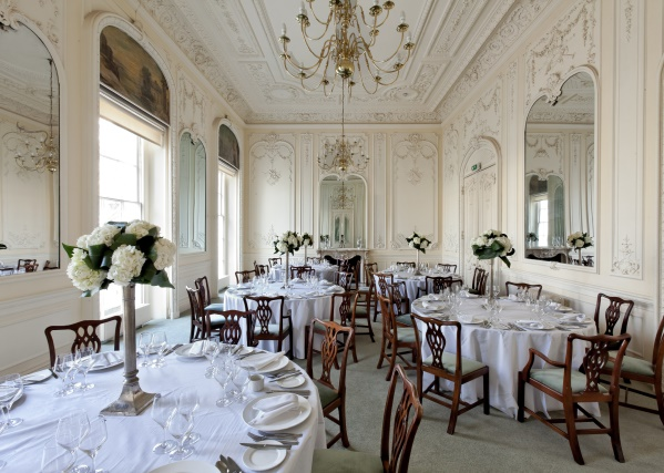 10 - 11 Carlton House Terrace Christmas Party SW1. Gorgeous setting for private dining with its simple, elegant decor and furnishings.