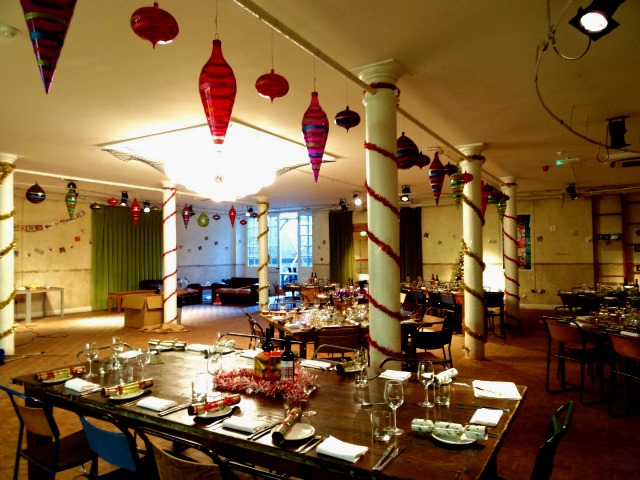 Tanner Warehouse Venue Hire London SE1, seated dinner with colored decor