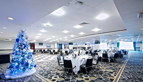 Chelsea Stamford Bridge Christmas Party SW6- Harris function room set out with dancefloor for a Christmas party