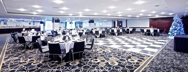 Chelsea Stamford Bridge Christmas Party SW6- Harris room set out banqueting style for a Christmas party