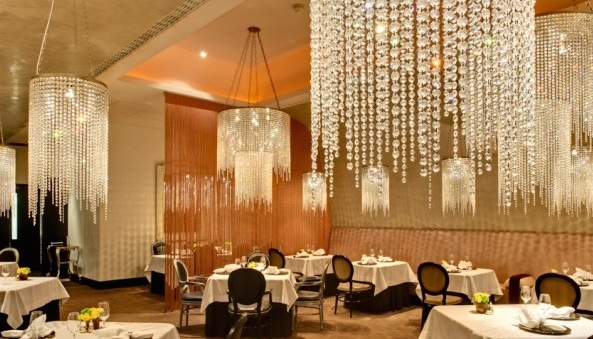 Cumberland Hotel Christmas Party W1, private dining room, stunning chandeliers, circle tables