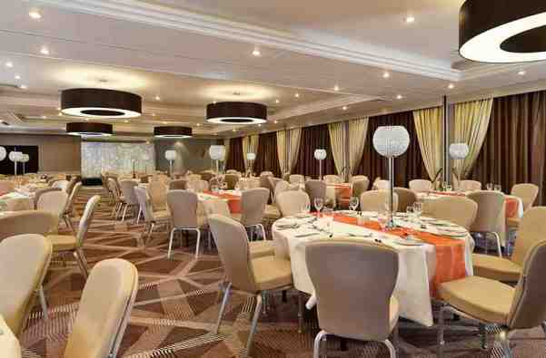 DoubleTree Hilton Ealing Christmas Party W5, seated dinner, round tables, modern event space